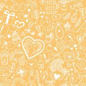 Romantic banner in cartoon style — Vector de stock