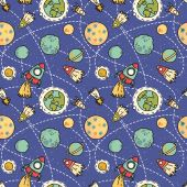 Space seamless pattern — Stock Vector