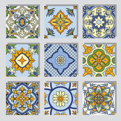 Set with ornamental tile backgrounds — Stock Vector