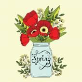 Poppy flowers in jar — Stock Vector