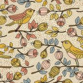 Seamless pattern with flower and birds — Vector de stock