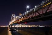 SF Bay Bridge at Night — Stockfoto