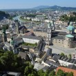 Panoramic view from castle in Salzburg, Hohensalzburg, on city historic center, Austria — Stock Photo #63431971