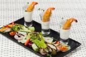 Various snacks in shot glasses — Foto Stock