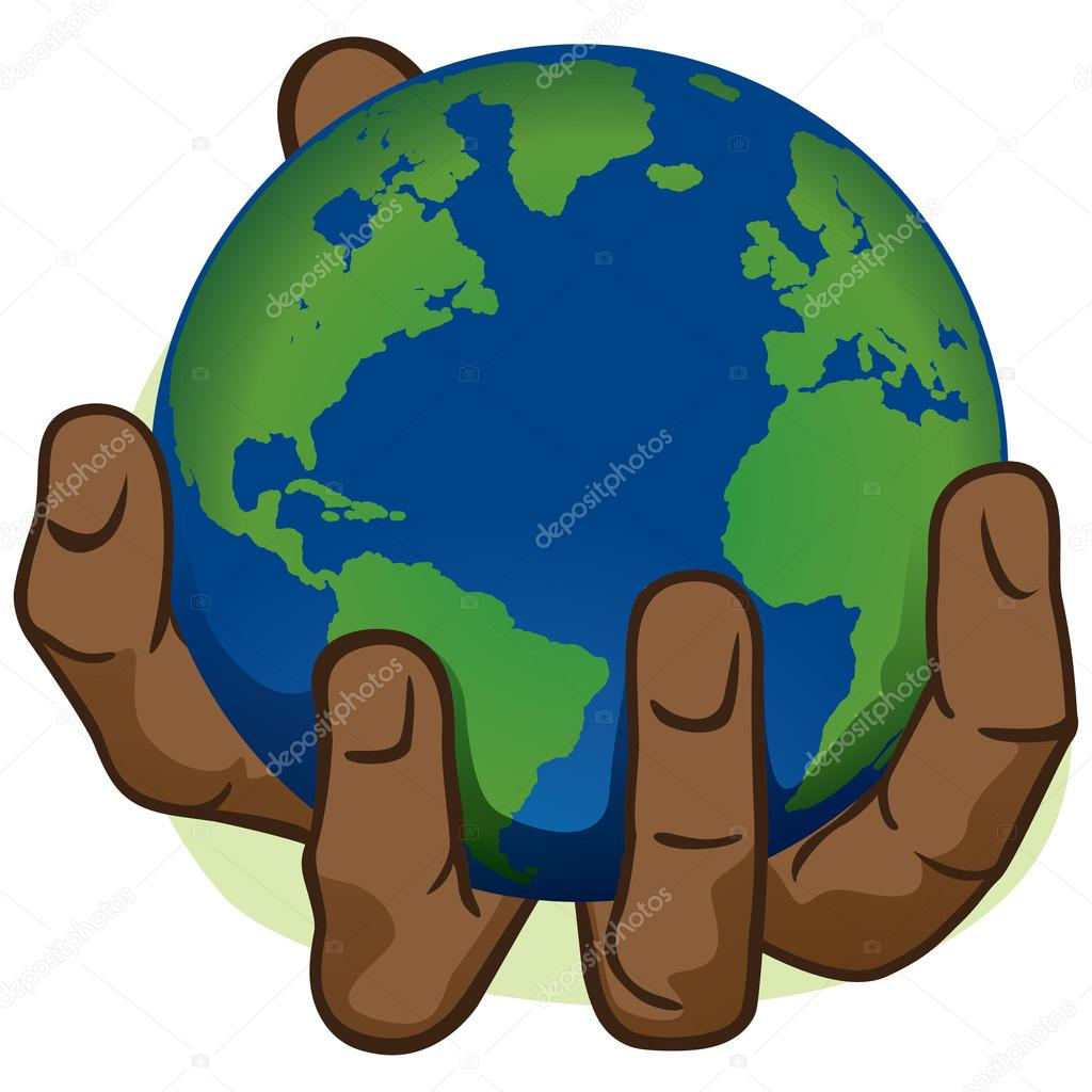 character hand holding the planet earth african descent ideal character hand holding the planet earth african descent ideal for informational and institutional stock illustration