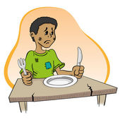 Illustration representing a child sitting without food on the table — Stock Vector