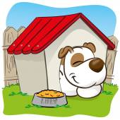 Illustration representing a pet dog in the backyard sleeping in his house. ideal for training materials, catalogs and institutional veterinarian — Stock Vector