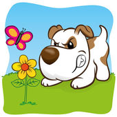 Illustration representing a pet dog barking angry for a butterfly on flower. ideal for training materials, catalogs and institutional veterinarian — Stock Vector