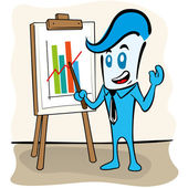 Illustration of a character in the executive the office presenting charts and graphs on the flipchart, ideal for field training, internal and institutional — Stok Vektör