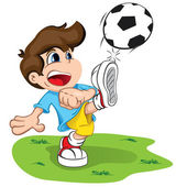 Illustration is a character child kicking a ball. Ideal for health and institutional information. — Vector de stock