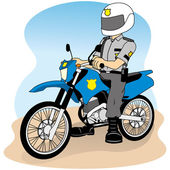 Job security on a motorcycle, doing round or patrol, ideal for field training and institutional — Stock Vector