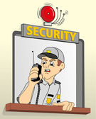 Job security in a guardhouse, talking on the radio about alarm, ideal for field training and institutional — Stock Vector