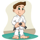 Illustration is a fighter child Character martial arts, judo, karate, jujitso, taekwondo. Ideal for sports and institutional information — Stock Vector