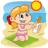 Illustration is a character child in passing sunscreen at the beach. Ideal for sports and institutional information. — Stock Vector