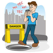 Inattentive person walking by smart phone. running the risk of falling in the hole — Stock vektor