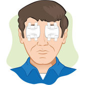 Gauze dressing with person in the eye irritated or injured, the front face. Ideal for training materials, catalogs and institutional — Stock Vector