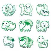 Icons of animals, for signaling. Ideal for editorial material and institutional — Stock Vector
