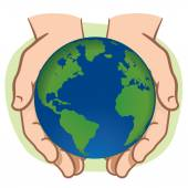 Character pair of hands holding the planet Earth. Ideal for informational and institutional. — Stock Vector