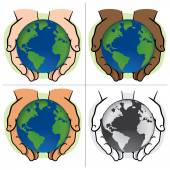 Character pair of hands holding the planet Earth, ethnicities. Ideal for informational and institutional. — Stock Vector