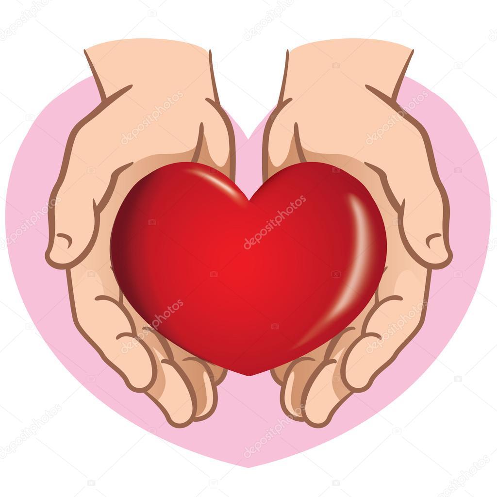 Par de manos sosteniendo un corazón en carácter. Ideal