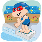 Illustration is a swimming athlete child preparing to enter the pool, sports, games or competition, ideal for educational, sports and institutional materials — Stock Vector