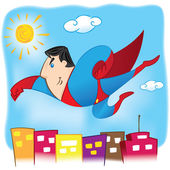 Illustration represents a superhero Person flying in the air over the city. Ideal for educational and institutional materials — Stock Vector