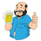 Illustration represents a person fat and bald man with a beer mug. Ideal for promotional and institutional materials — Stock Vector