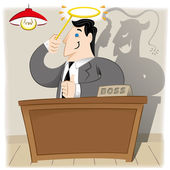 Illustration is a person, executive Boss with angel appearance but in truth and a demon. Ideal materials for administrative, institutional and coathing — Stock Vector