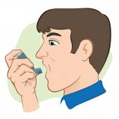 Illustration of a person using inhaler for asthma and lack and public areas. Ideal for catalogs, informative and medical guides — Stock Vector