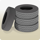 Object illustration, a lot of tires. Ideal for informational and institutional — Stock Vector