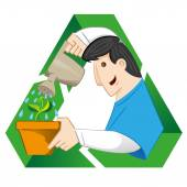 Illustration representing a person one watering pot with plant on the recycling symbol. Ideal for catalogs, informative and recycling guides — Stock Vector