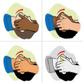 First Aid resuscitation (CPR), clearing breathing, positioning, etnais. For resuscitation. Ideal for training materials, catalogs and institutional — Stock Vector