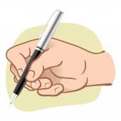 Illustration hand person holding a pen to write or draw. Ideal for catalogs, informative and institutional guides — Stock Vector