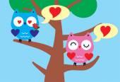 совы в любви — Cтоковый вектор