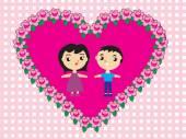 夫妇和鲜花 — 图库矢量图片