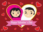 Happy couple valentine — Stock Vector