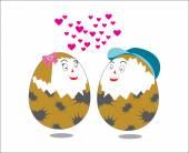 Œuf de caille couple heureux — Vecteur