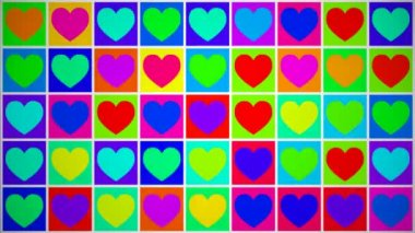 Colorful moving hearts — Stock Video