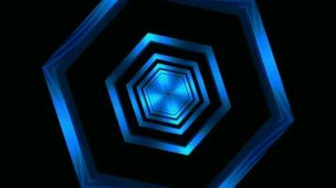 Moving blue glass hexagons — Стоковое видео