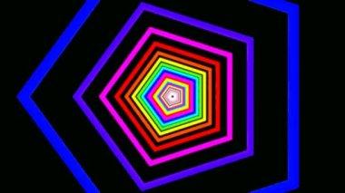 Rörliga rainbow hexagoner — Stockvideo