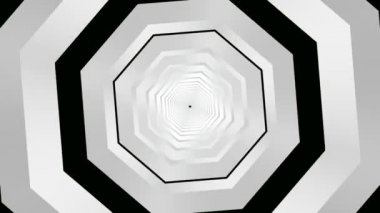 Moving gray octagons tunnel — Stock Video