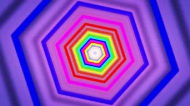 Moving rainbow hexagons — Stock Video