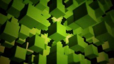 Moving green boxes — ストックビデオ