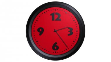 Red wall clock animation — Stock Video