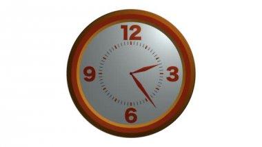 Orange wall clock animation — Stock Video