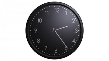 Black wall clock animation — Stock Video