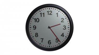 Gray wall clock animation — Stockvideo