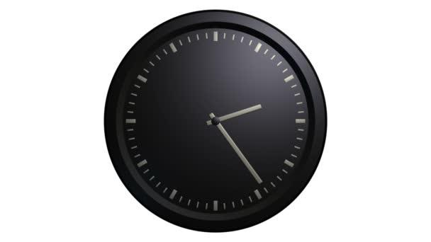 Animación de reloj de pared negro — Vídeo de stock