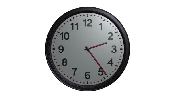 Animación de reloj de pared gris — Vídeo de stock