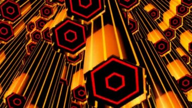 Moving yellow hexagonal tubes — Stock Video